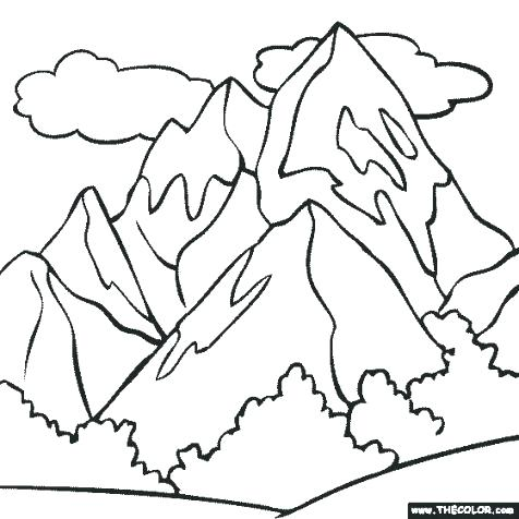 476x476 Mountain Coloring Pages Mountain Coloring Page Mountain Range