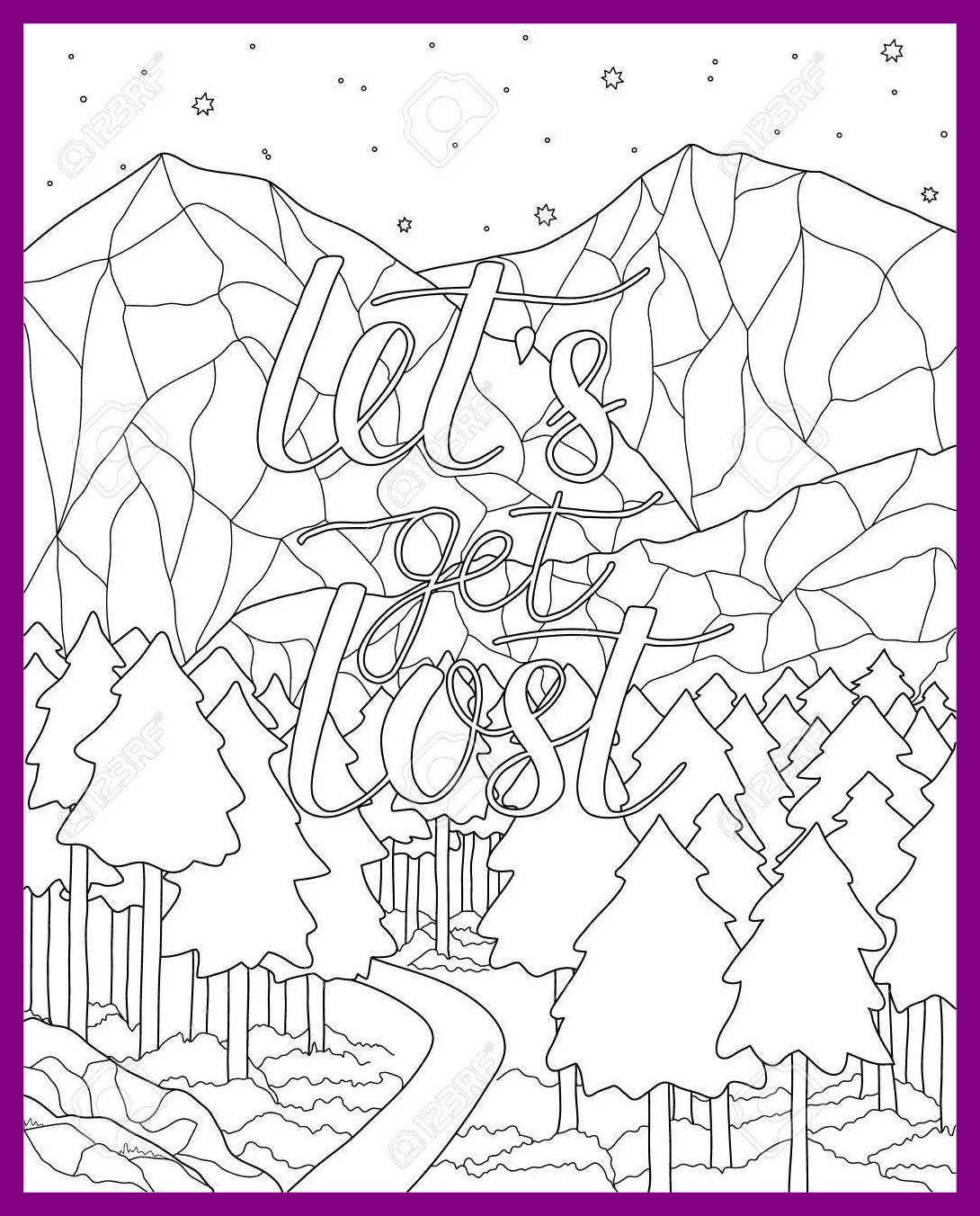 1090x1352 Inspiring Mountain Scenery Adult Antistress Coloring Page