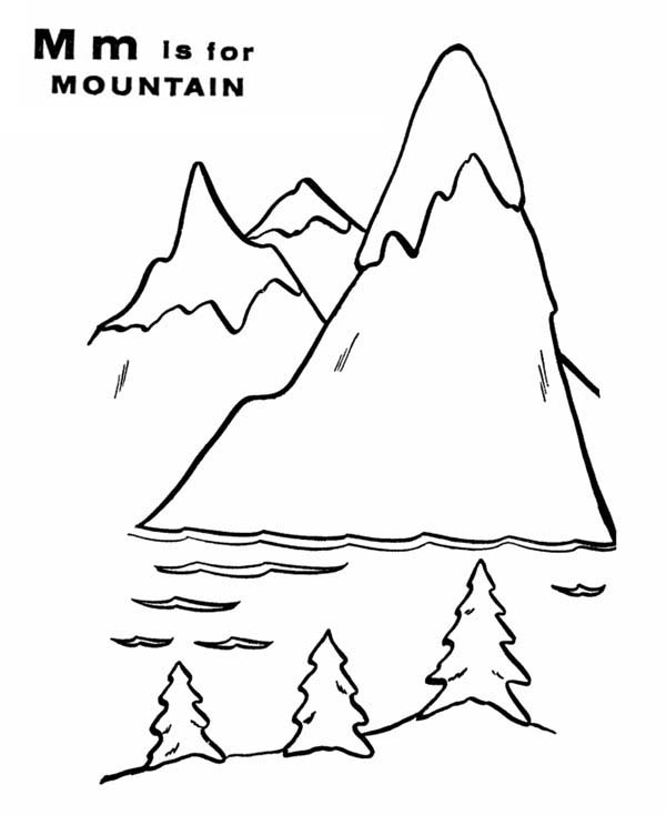 600x734 Letter M For Mountain And It Scenery Coloring Page
