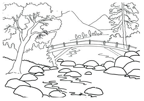 476x333 Mountain Landscape Coloring Pages Landscapes Mountains Mountain