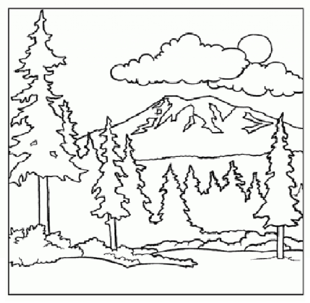 1024x1002 Mountains Coloring Page