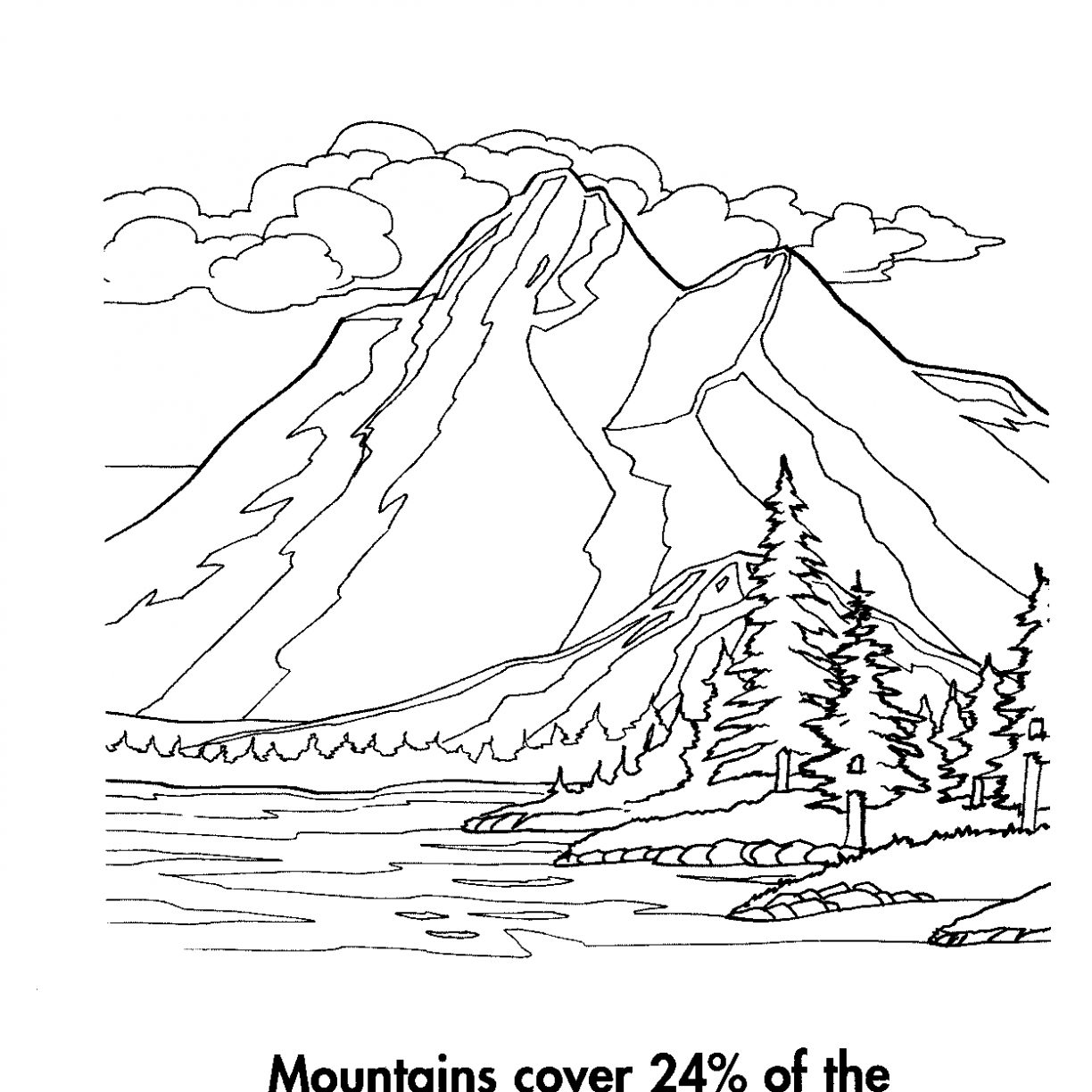 1224x1224 Pictures Mountains Coloring Page For Kids Printable Free Pages