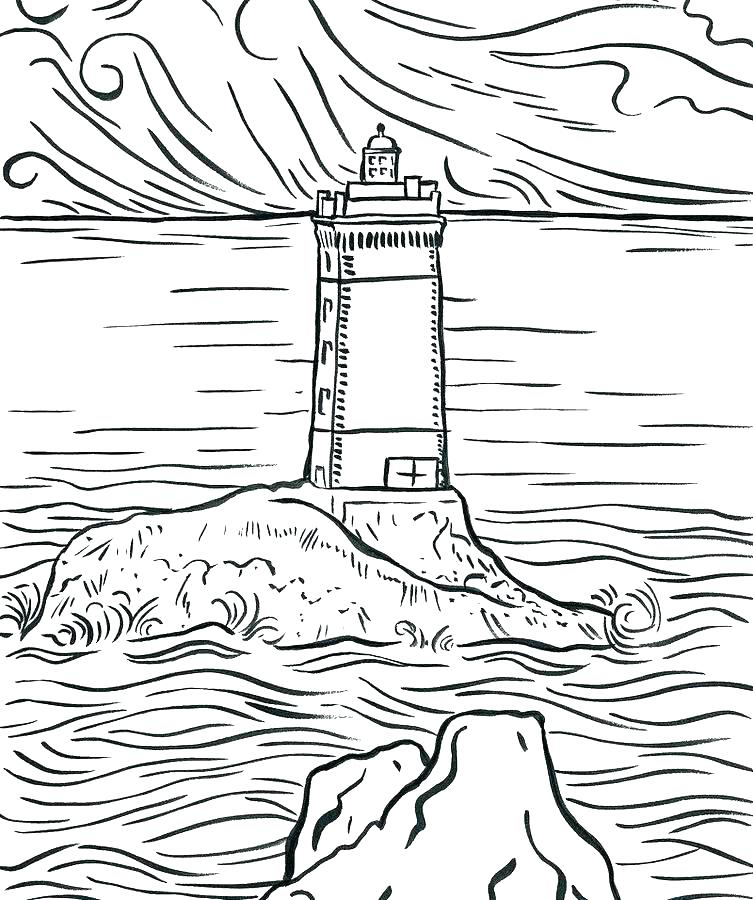 753x900 Realistic Lighthouse Coloring Pages Lighthouse Coloring Sheet