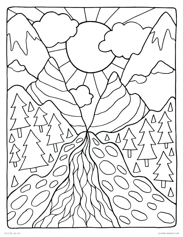 Mountain Scenery Coloring Pages At Getdrawings Com Free For