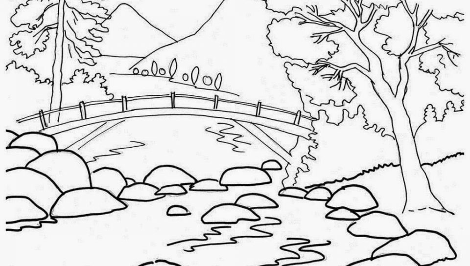 960x544 Scenery Coloring Pages With Nature For Drawing Beautiful Printable
