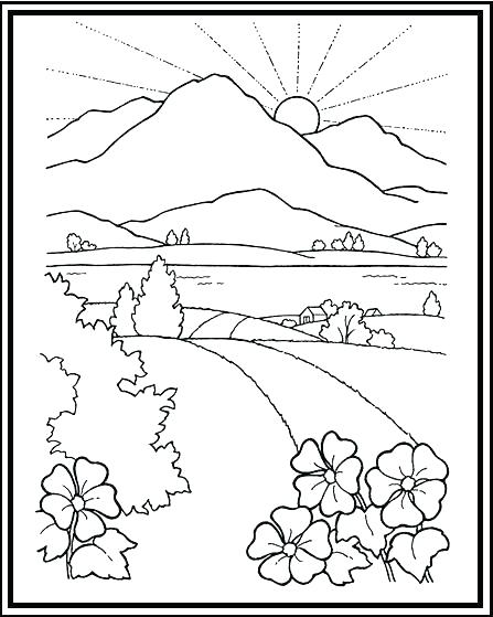 447x559 Coloring Pages Mountains Sunset Coloring Pages Mountains Coloring