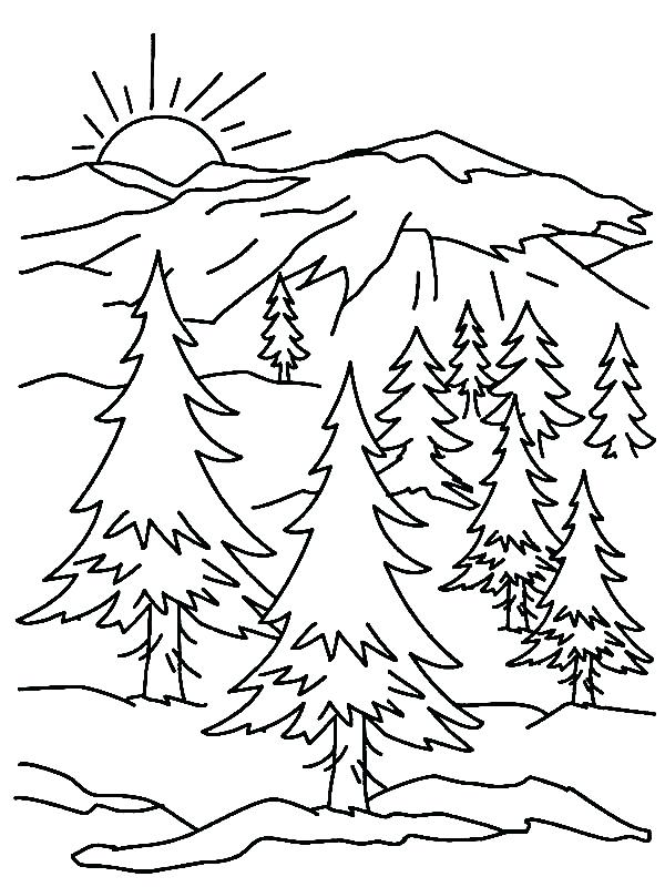 600x800 Coloring Pages Of Mountains Landscape Color Pages Mountain