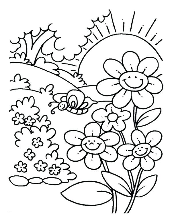 600x776 Fall Scenery Coloring Pages