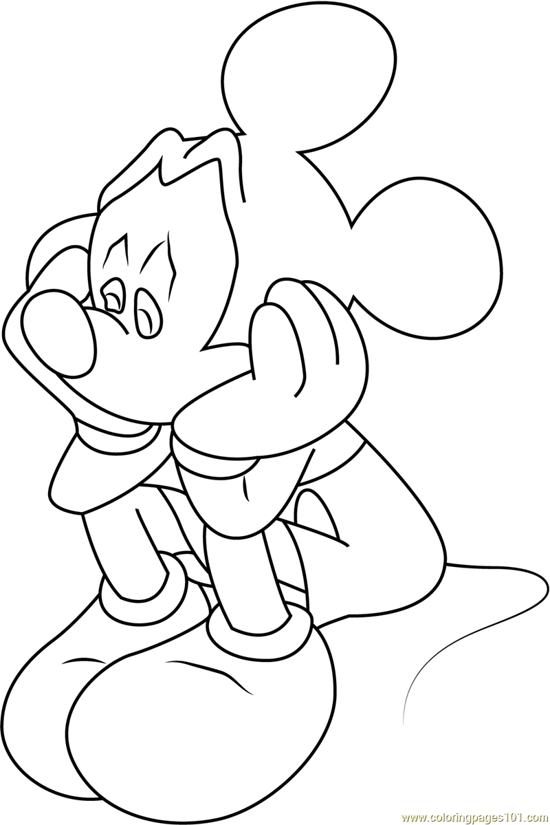 800x1199 Sad Mickey Mouse Coloring Page