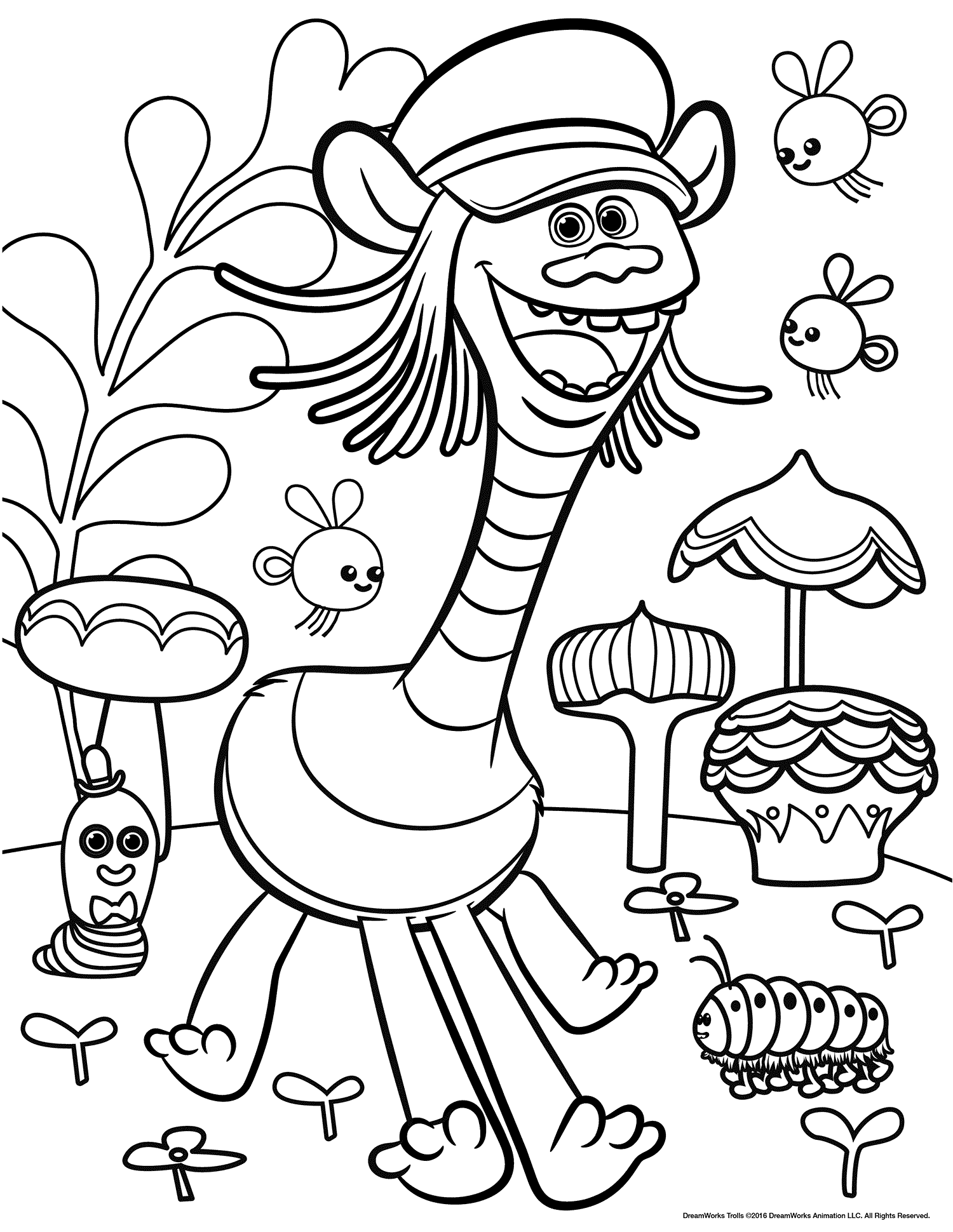 1500x1940 Dreamworks Trolls Coloring Pages