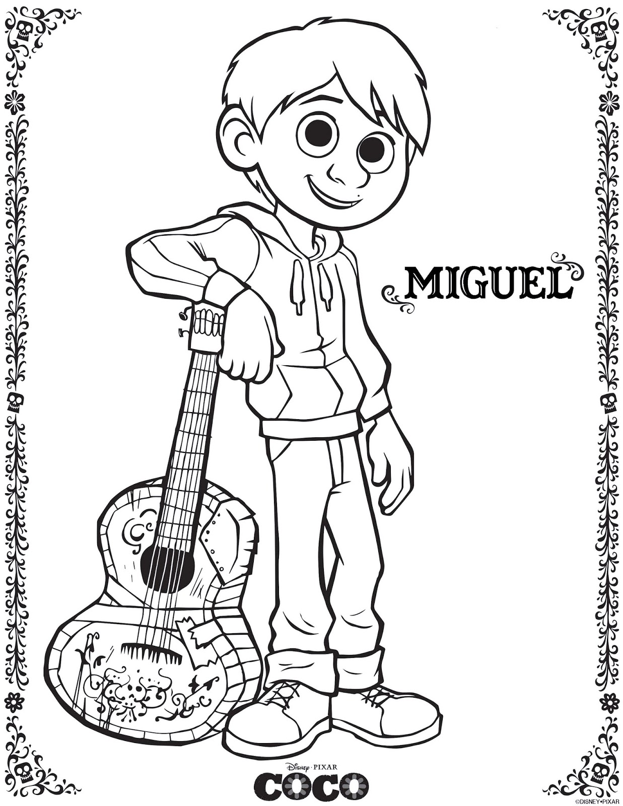 1237x1600 Be Brave, Keep Going Free Printable Coco Movie Coloring Pages