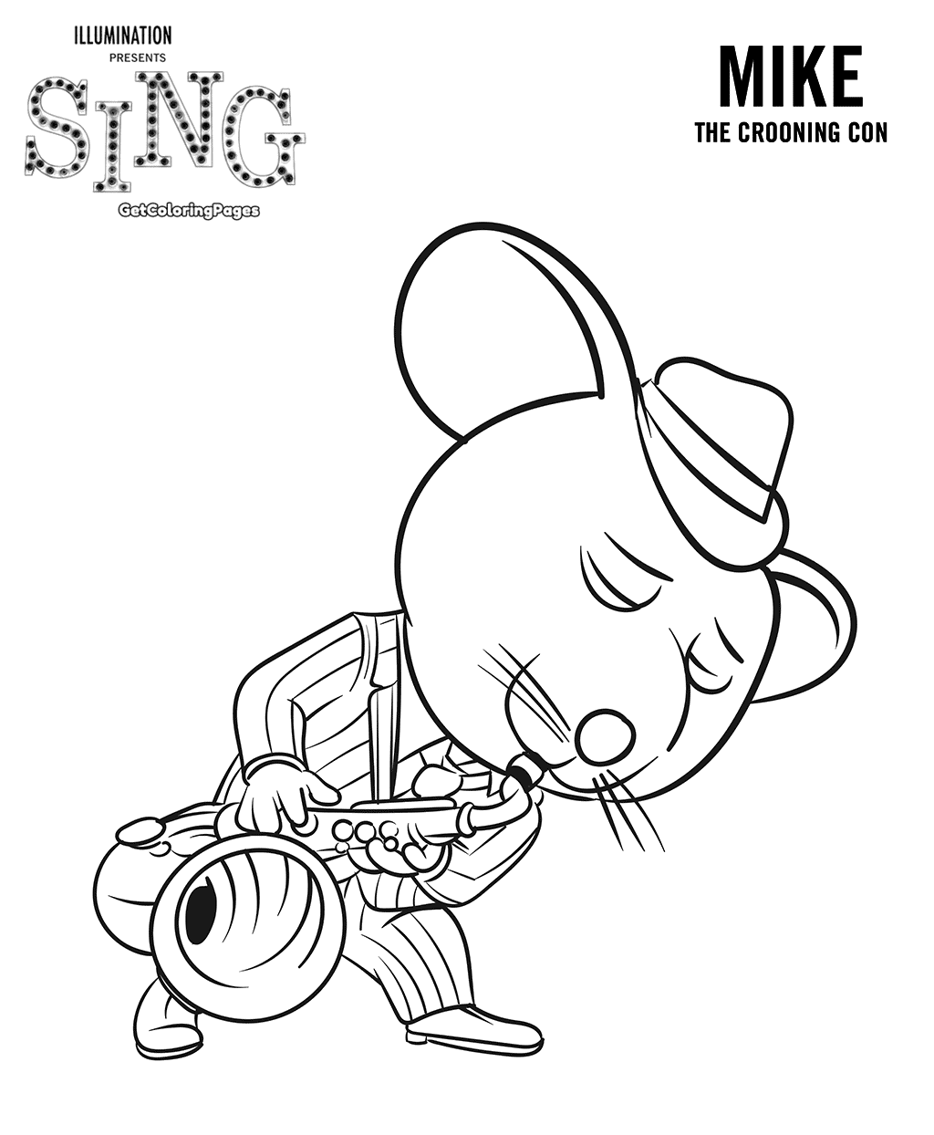 1024x1244 Sing Movie Coloring Pages Mouse Mike