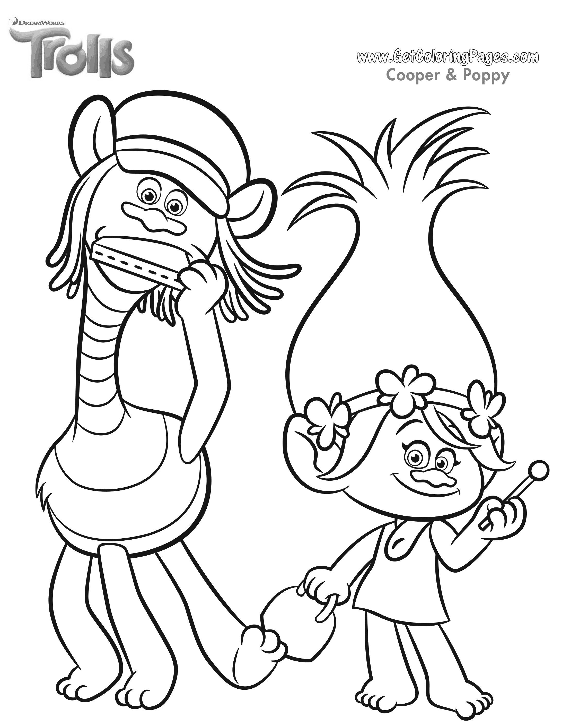 2250x2820 Trolls Movie Coloring Page