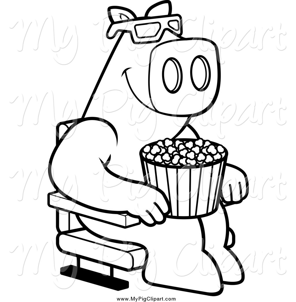 1024x1044 Swine Clipart Of Blacknd White Pig With Popcornnd Watching