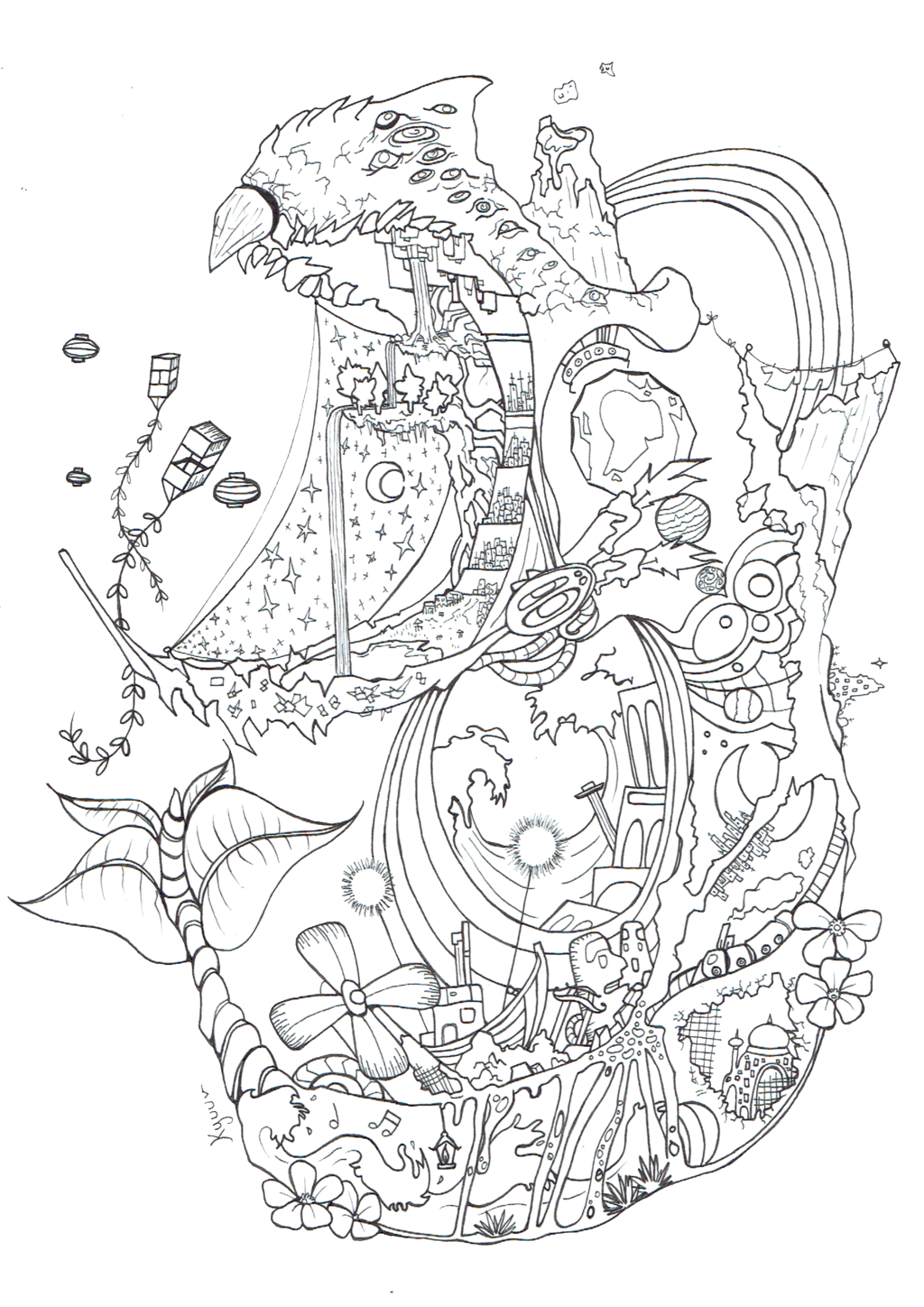 1024x1448 Odd Howl S Moving Castle Coloring Pages Spirited Away Book Arilitv