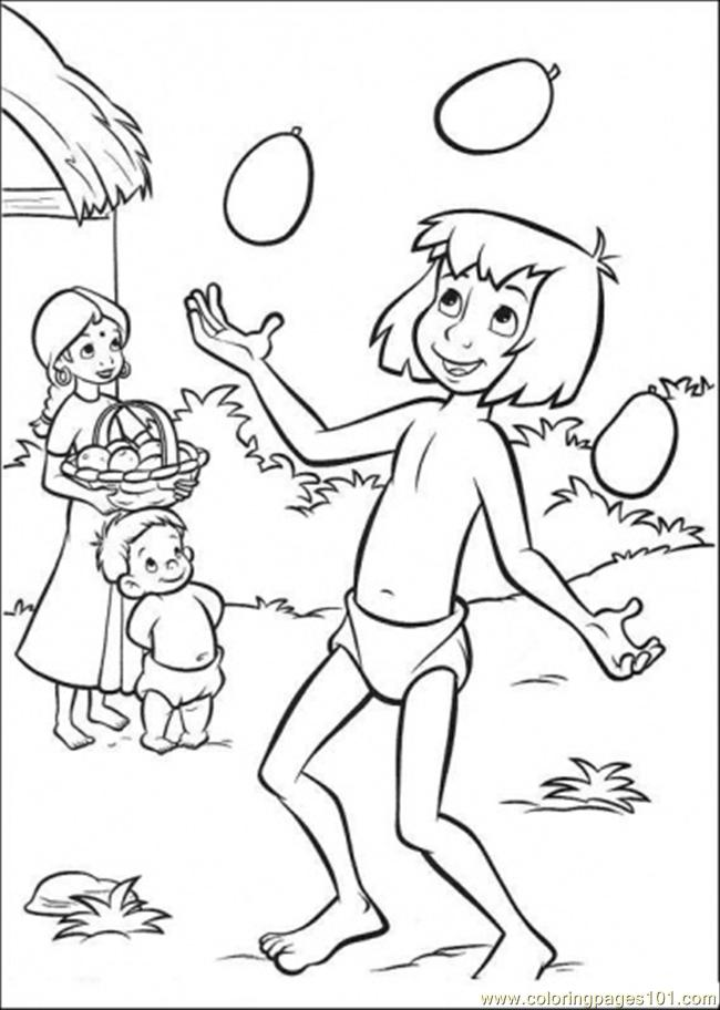 650x912 Mowgli Is Playing With The Mangos Coloring Page