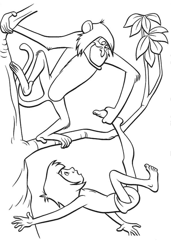 595x842 Mowgli With Monkey Fighting On Branch Coloring Page