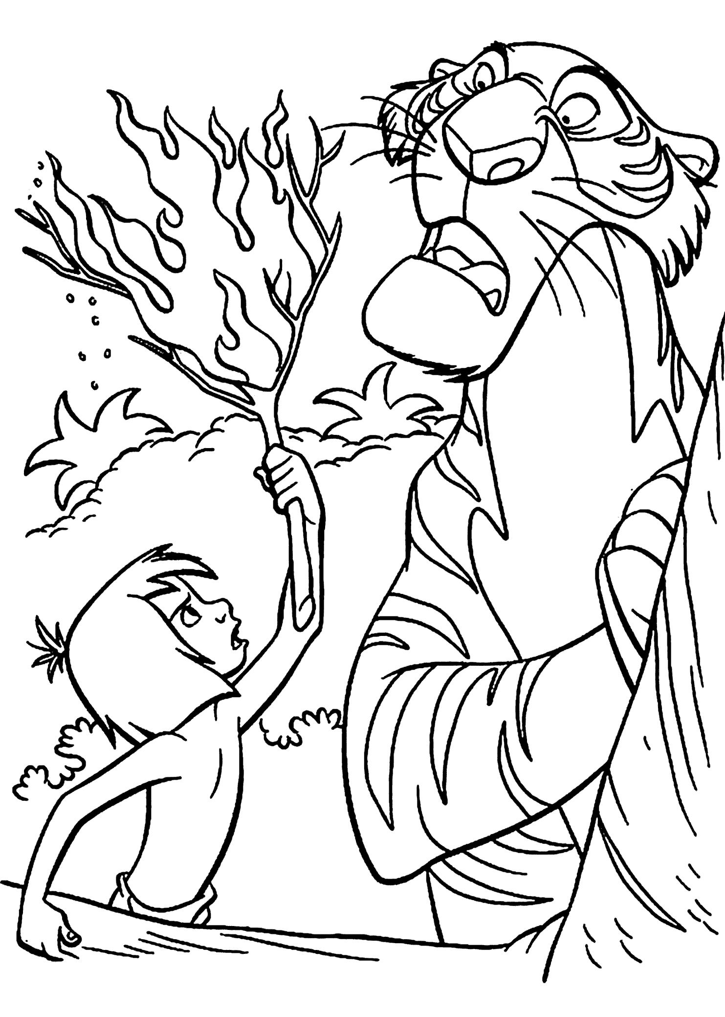 1483x2079 Mowgli And Shir Khan Coloring Page Disney's Jungle Book School