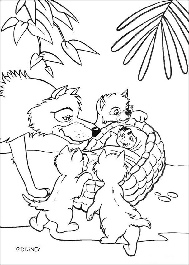 607x850 Mowgli And The Wolves Coloring Pages