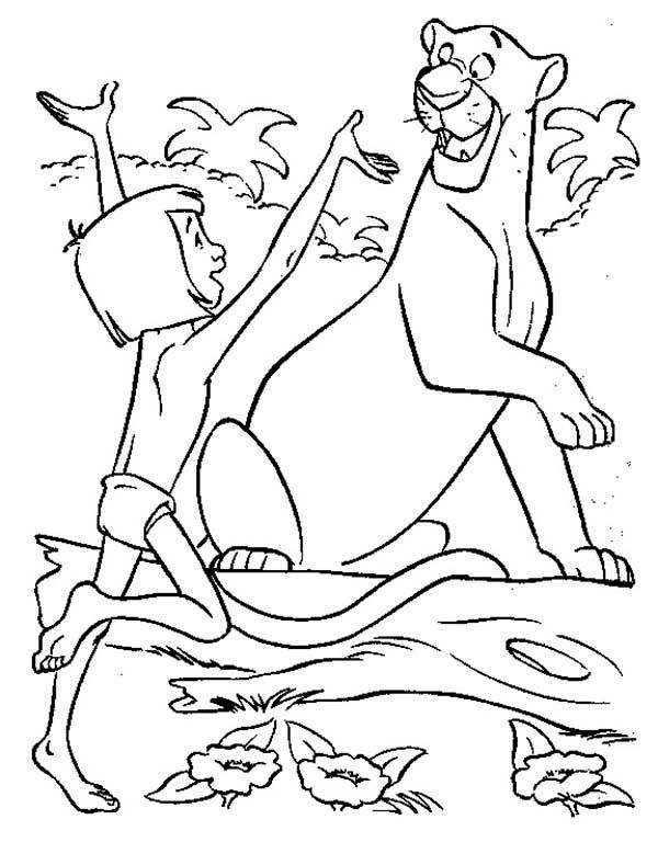 600x789 The Jungle Book, Mowgli Is Happy Meet Bagheera In The Jungle