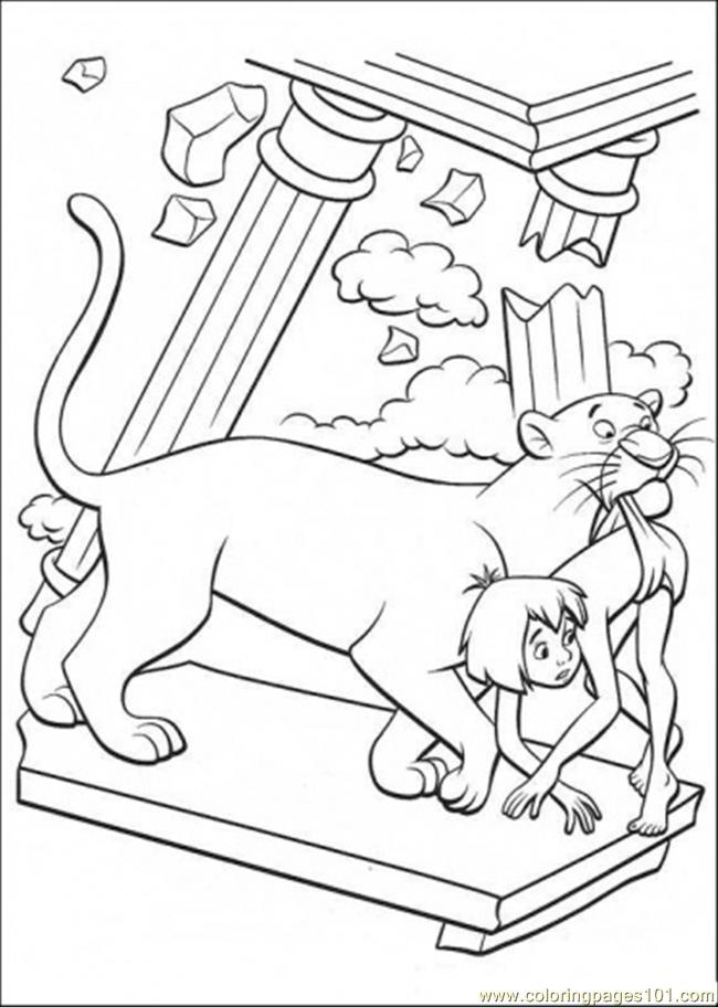 650x912 Bagheera Helps Mowgli Coloring Page