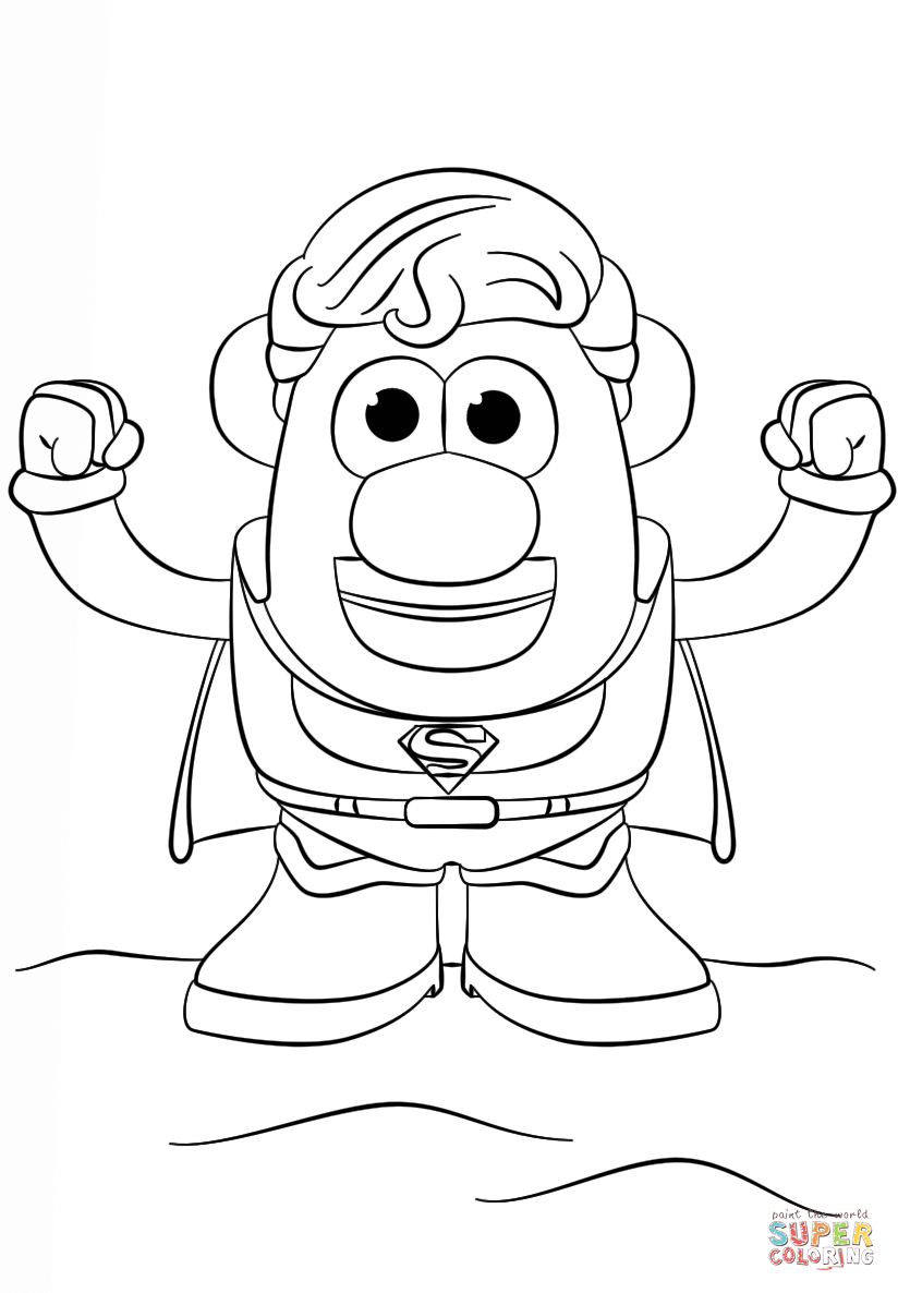824x1186 Potato Head Superman Coloring Page Free Printable Pages And Mr