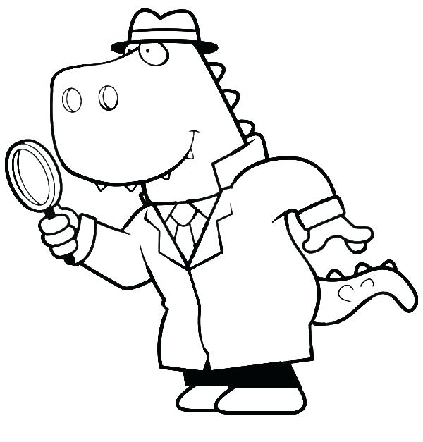 600x627 Mr T Coloring Pages Cartoon Of A T Detective Using A Magnifying