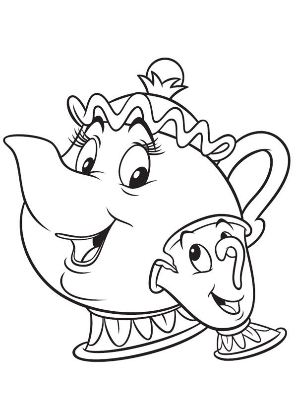 image regarding Chip Teacup Printable named Mrs Potts Coloring Website page at  No cost for