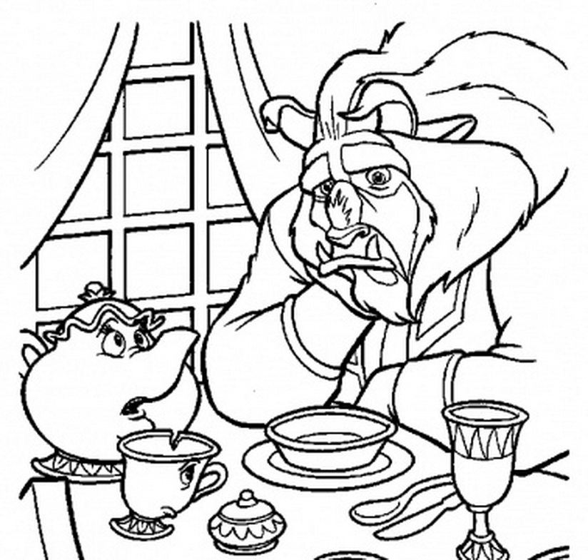 824x785 Beast Talking To Mrs Potts Coloring Page Beauty And The Beast