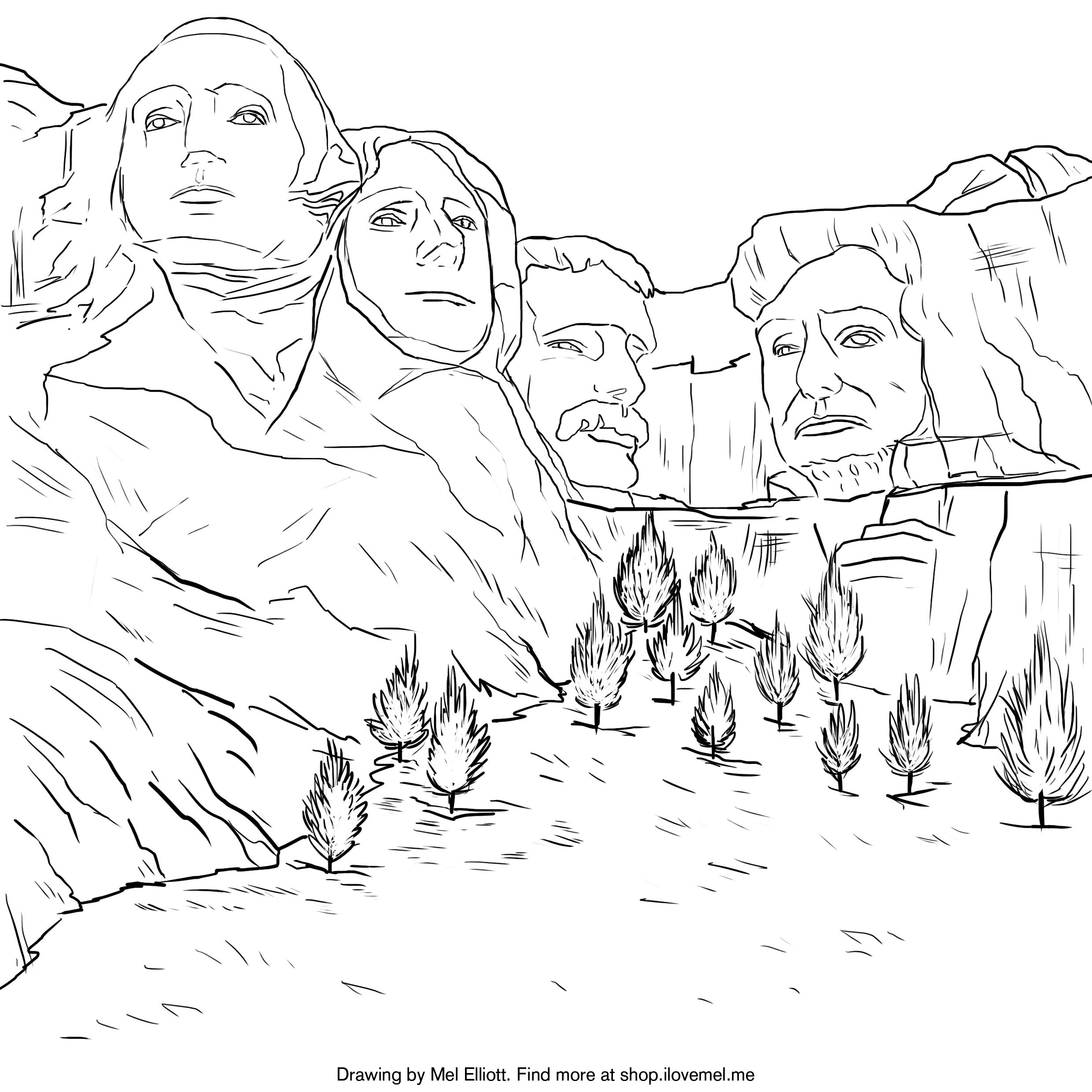 Mount Rushmore Colouring Page | 2480x2480