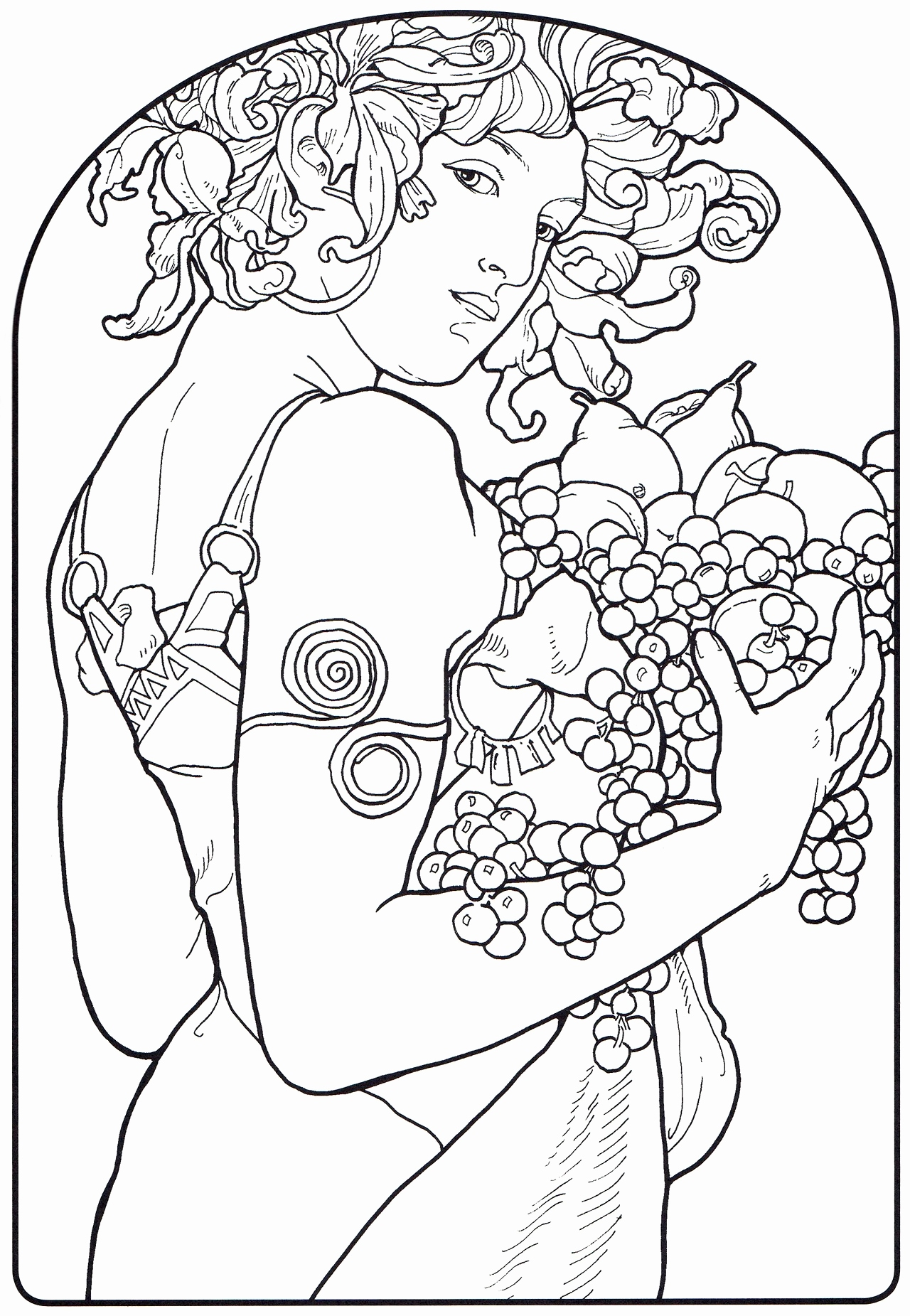 1280x1851 Coloring Pages Of Witches New Alphonse Mucha Line Art Alphonse