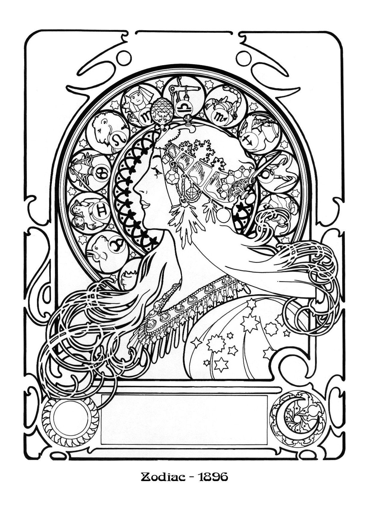 1240x1754 Alphonse Mucha Coloring Page