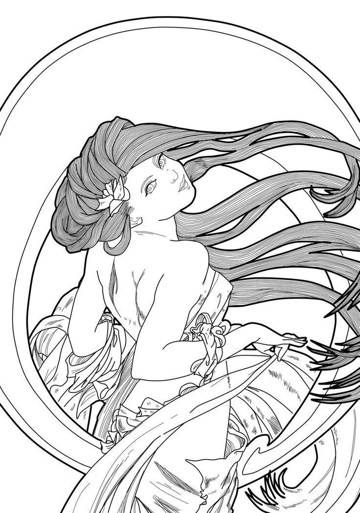 736x1050 Alphonse Mucha Coloring Pages Art Nouveau Alphonse