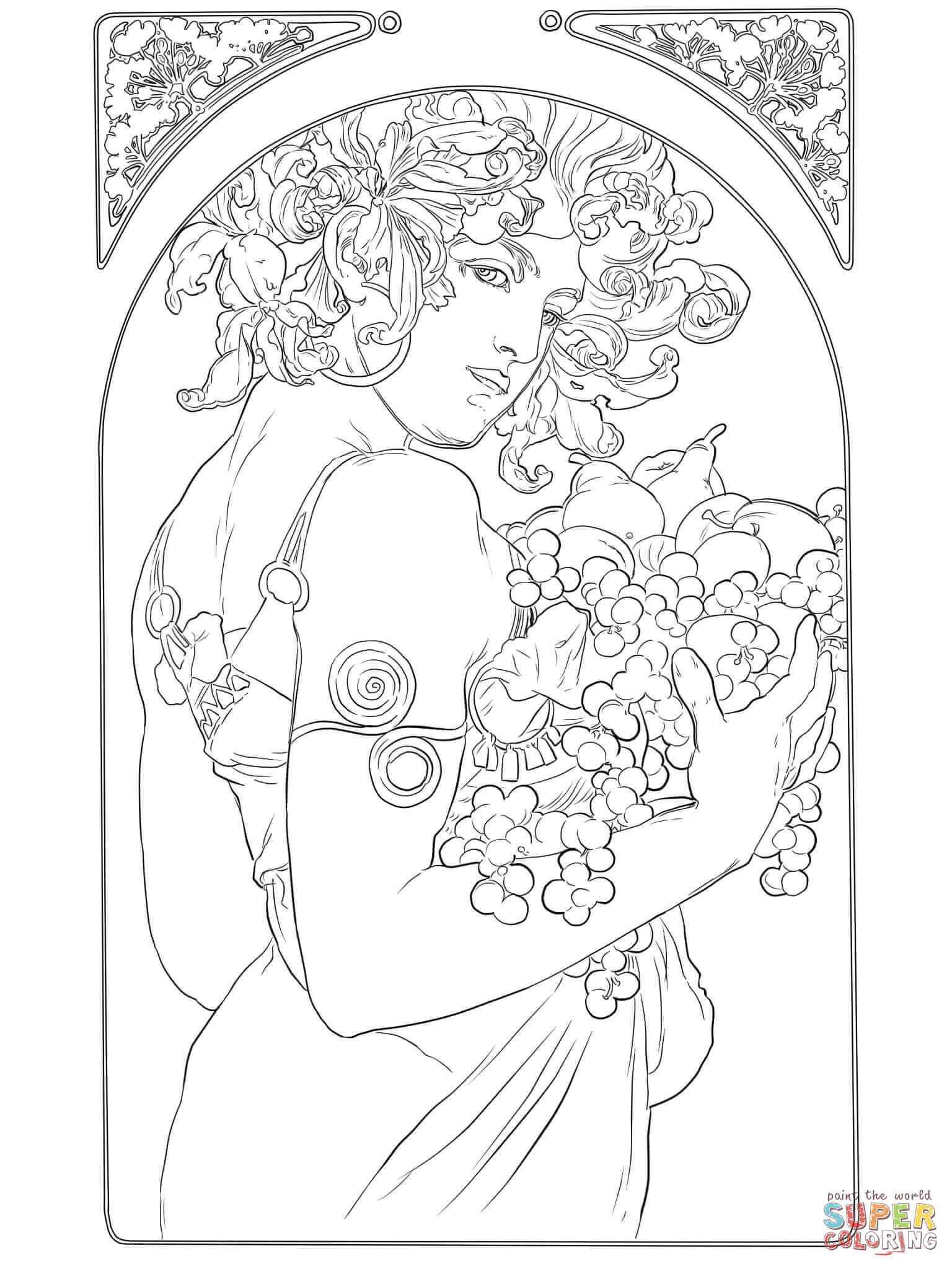 1536x2048 Alphonse Mucha Coloring Pages Art Nouveau Coloring Book Online Art