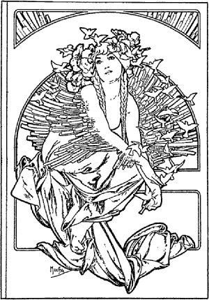 300x430 Alphonse Mucha Coloring Pages Colouring Book Kids