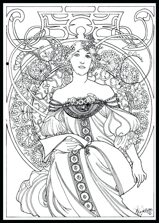 611x856 Alphonse Mucha Coloring Pages Coloring Pages Free Alphonse Mucha