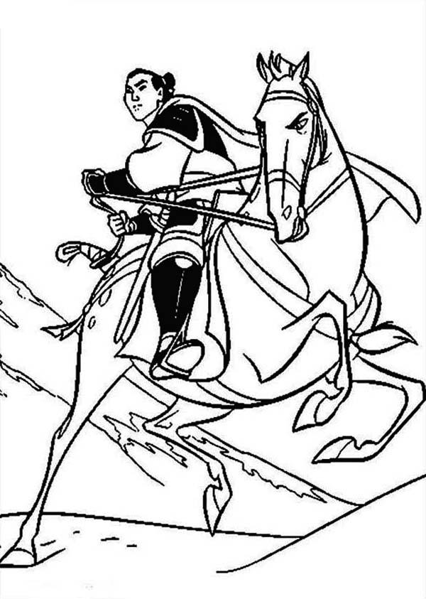 600x843 Li Shang And His Horse, Khan Coloring Page