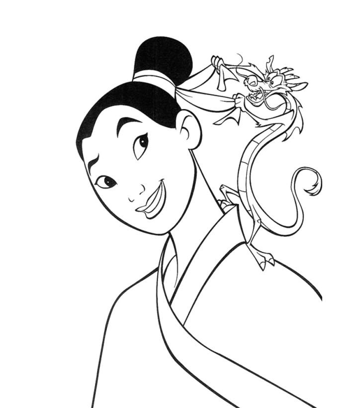 700x820 Mulan Coloring Page Disney Y Blank Pattern Mulan Disney