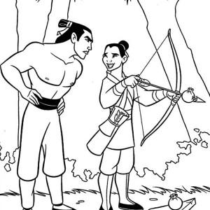 300x300 Mulan And Li Shang After The Battle Coloring Page Mulan And Li