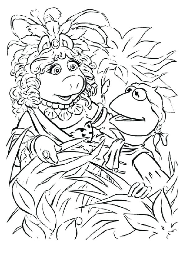 600x823 Muppets Coloring Pages And Miss Piggy Hiding Behind Plant