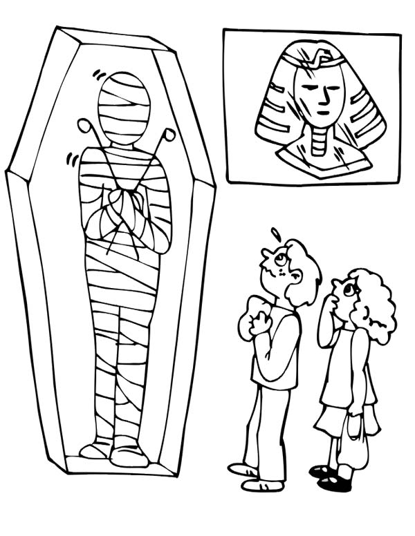 600x776 Visiting Museum Mummy Exhibition Free Coloring Page