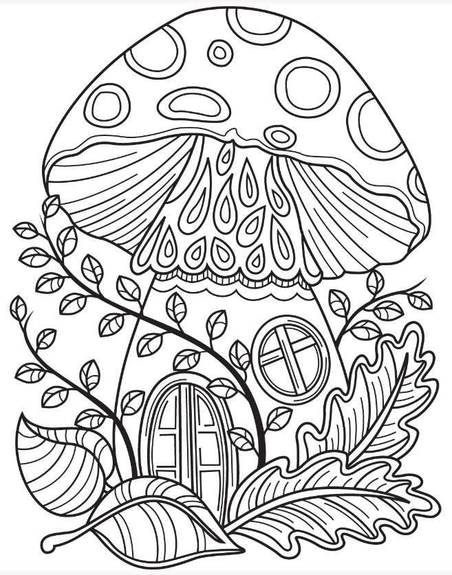 657x837 Fairy Mushroom House In The Garden Forest Coloring Page Colorish