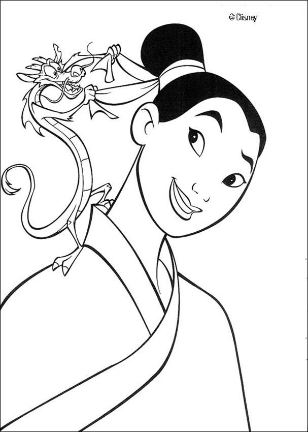 607x850 Fa Mulan And Her Guardian Mushu The Dragon Coloring Pages