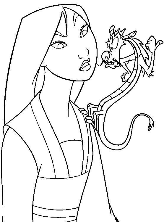 555x750 Mulan And Mushu Mulan Coloring Pages Craft
