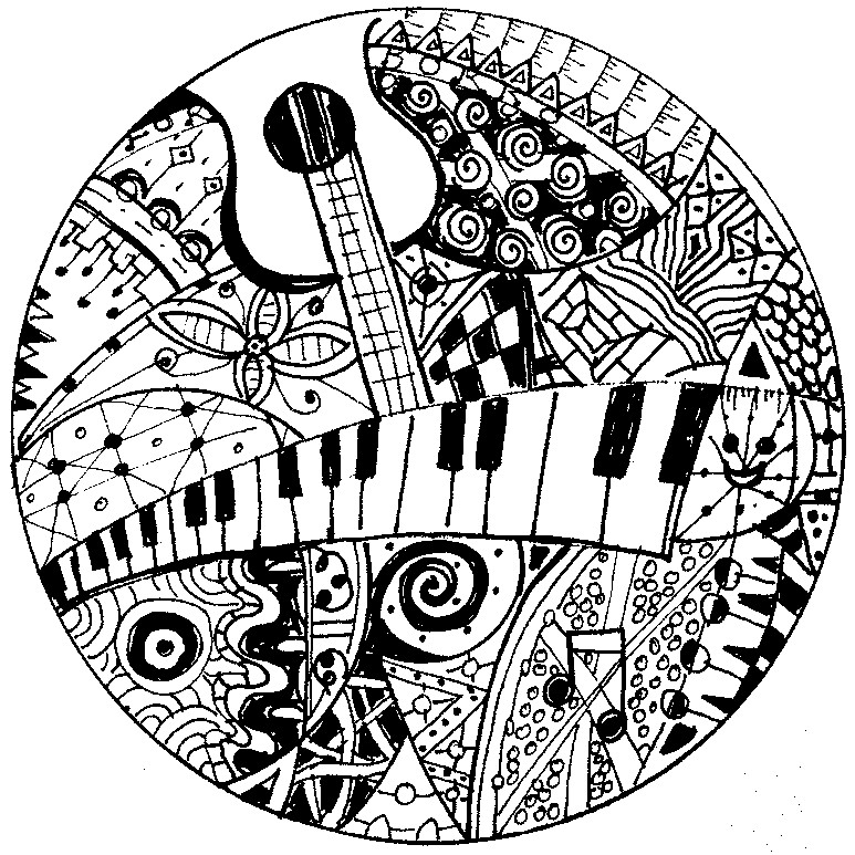 773x773 Adult Coloring Page Music Keyboard And Guitar