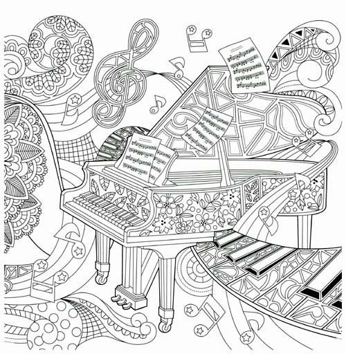 500x512 Stunning Design Ideas Music Coloring Pages For Adults