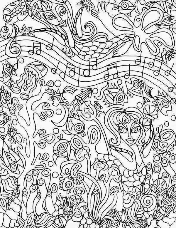 600x776 Stunning Music Coloring Pages For Adults