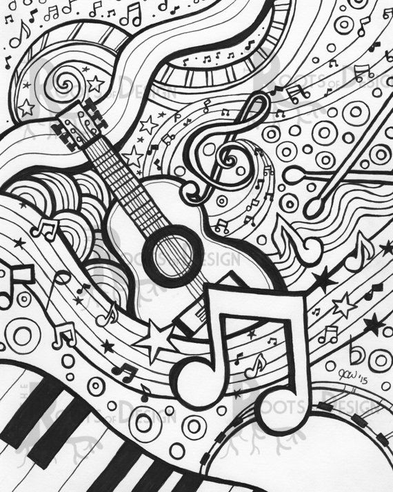 570x713 Free Music Coloring Pages Printable Mesmerizing Adult Coloring
