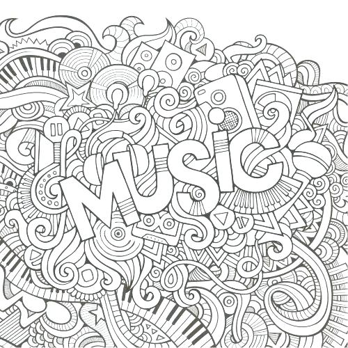 500x500 Coloring Pages Music Printable Page Colouring