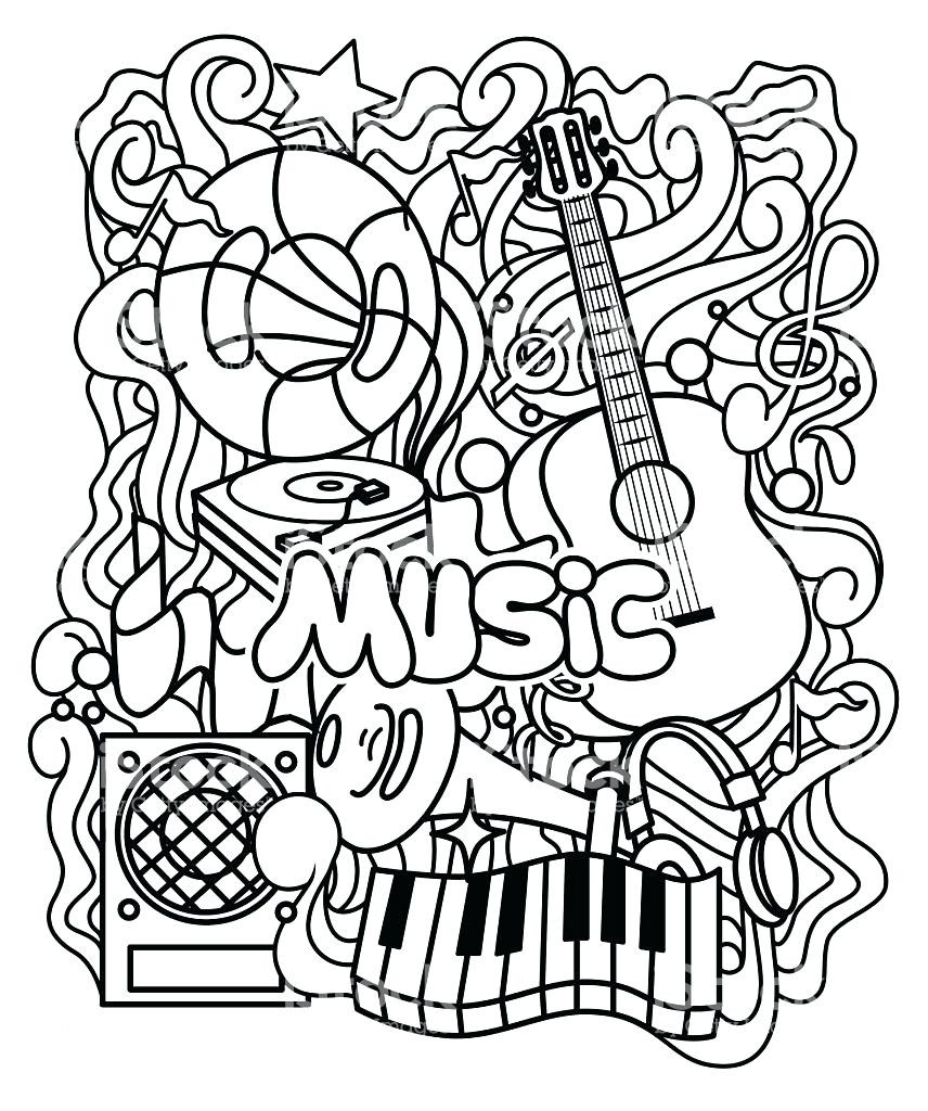 856x1024 Music Coloring Pages Co Ribsvigyapan Com Adult Simple